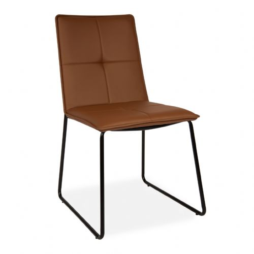 x2 Modern Brown PU Leather Dining chairs, with Black Legs